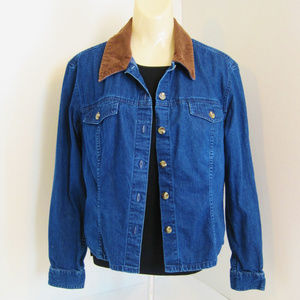 Charter Club-Womans Denim Jacket-Corduroy Collar-M